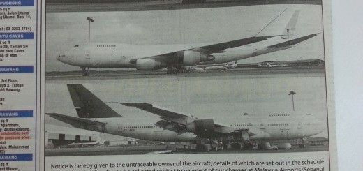 Advertisement in The Star looking for plane owners