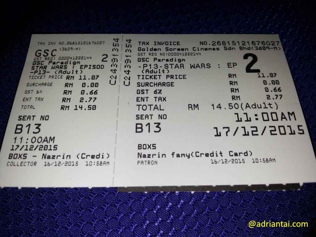 Star Wars: The Force Awakens movie ticket