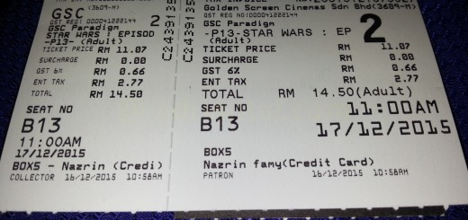 Star Wars: The Force Awakens movie ticket
