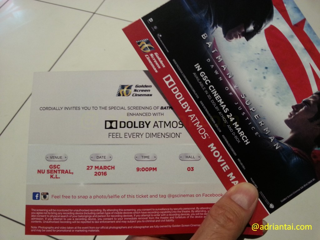 Batman V Superman enhanced with Dolby Atmos invites