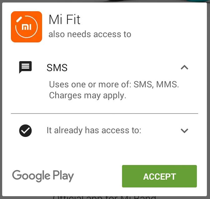 Mi Fit accessing SMS
