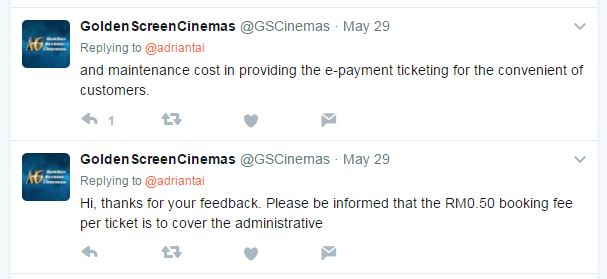 Cinema booking fee