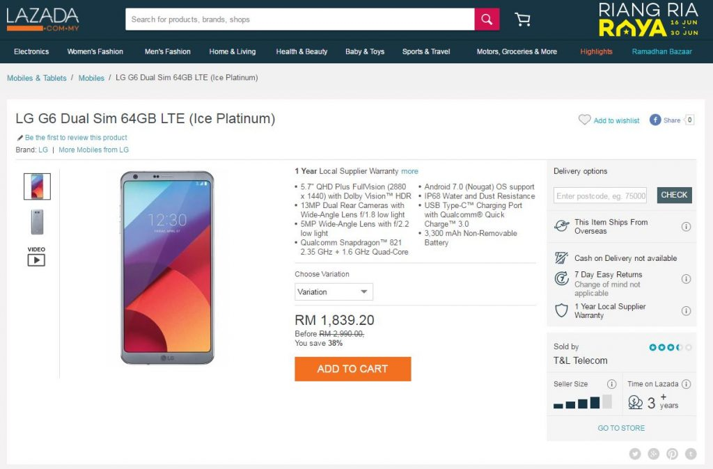 LG G6 sold by T&L Telecom at Lazada